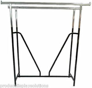 Commercial Clothing Double Bar H Rack Adjustable H 48 72 W V brace Black
