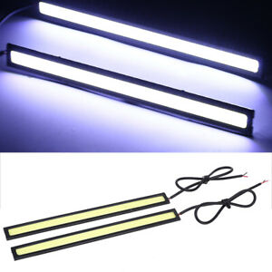 2x Cob Xenon White Led Drl Daytime Running Light Backup Interior Strip 12v 6w Us