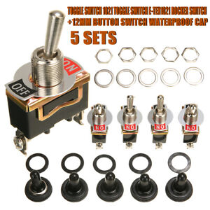 5x Spst 2pin Heavy Duty 20a 125v On Off Rocker Toggle Switch Waterproof Boot Us