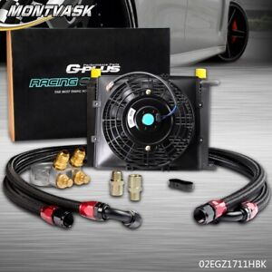 Gplus 7 Fixed Fan 28 Row 10an Thermostat Adaptor Engine Racing Oil Cooler Kit