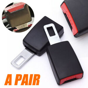 2pc Universal Car Safety Seat Belt Buckle Extension Extender Clips Alarm Stopper