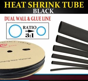 Black Expandable Braided Cable Sleeving Wire heat Shrink Tubing Glue Lined