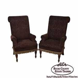 Drexel Pair Of High Back Upholstered Host Arm Chairs