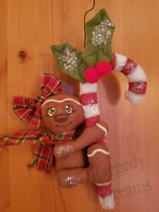 Handmade Small Primitive Gingerbread Girl Candy Cane Christmas Ornament 1