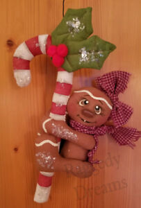 Handmade Small Primitive Gingerbread Girl Candy Cane Christmas Ornament 2