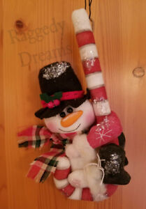 Handmade Small Primitive Top Hat Snowman Candy Cane Christmas Ornament 4