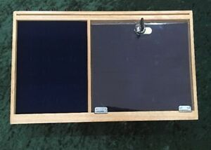 Locking Wood Countertop Ring And Jewelry Display With Blue Velvet Pads