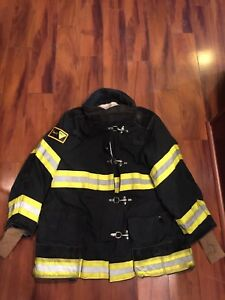 Firefighter Janesville Lion Apparel Turnout Bunker Coat 44x32 Black Costume