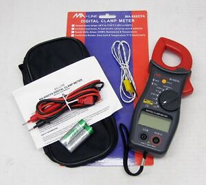Digital Clamp Meter Temperature Volts Amps Ohms Data Hold Ma 600cfa