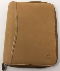 Franklin Covey Full Grain Leather Tan Zippered Binder 7 Rings 1 25 Ring