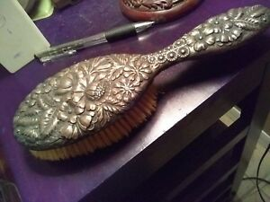 Sterling Silver Repousee Vanity Hair Brush Victorian Nouveau Antique