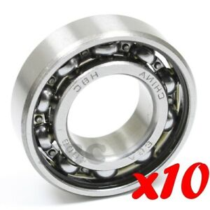 Set Of 10 Radial Ball Bearing 6003 Open Light Oil