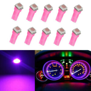 10x Bulb Car Instrument Panel Cluster Led Light T5 1smd Pink