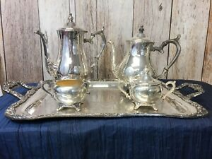 Vintage Wm Rogers Sliver Plated Tea And Coffee Set 5 Pc Set