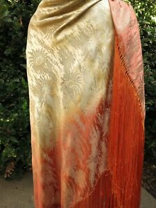 Ombre Art Deco C1920 French Silk Lam Shawl Xl Antique Fringed Stunning