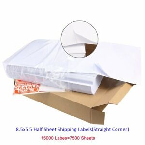 15000 Half Sheet Shipping Labels 8 5x5 5 Self Adhesive Usps Paypal Ups Fedex