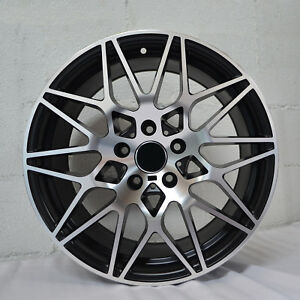 Set Of 4 Wheels 18 Inch Staggered Satin Black Rims Fits Ford Mustang
