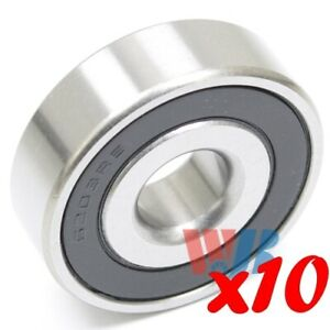 Set Of 10 Radial Ball Bearing 6203 2rs 8 With 2 Rubber Seals 1 2 Bore
