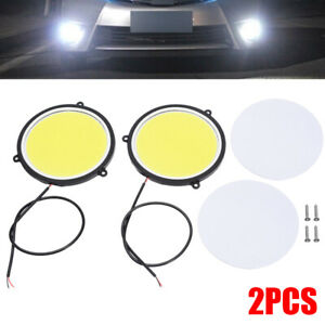 2pcs 90mm 12v Cob Car Drl Round Shape Daytime Running Light White Led Lights Us