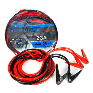 New 25ft 2 Ga Booster Jumper Cables Auto Car Jumping Cables Heavy Duty Gauge Set