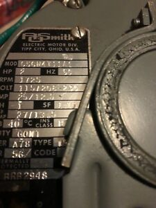 Nos Ao Smith C56n4t11a1 2hp Electric Motor Single Shaft