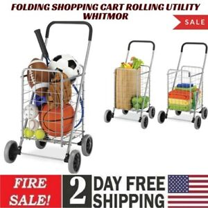 Folding Shopping Cart Rolling Utility Whitmor With Wheels Laundry Grocery Travel