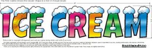 Ice Cream 10 X 48 Wide Concession Cart Food Truck Concession Menu Sign Decal