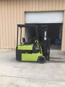 Clark Tm20 3 Wheel Electric Side Shift Forklift And Charger Incl Works Great