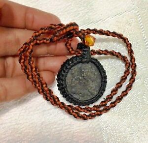 2 Sides Black Hindu Ganesh Thai Pendant Amulet Handmade Wax Cord Orange Necklace