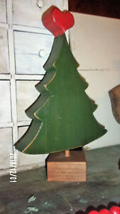 Folk Art Homemade Rustic Wood Primitive Christmas Tree W Heart On Top 13