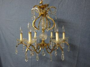 Stunning Vintage 24 Kt Gold Plated Chandelier With Crystals Italian