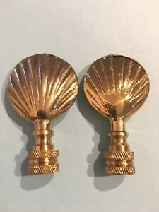 Vintage Pair 2 Brass Large Seashell Lamp Finial 2 5 H X 1 5 W Brass Mint