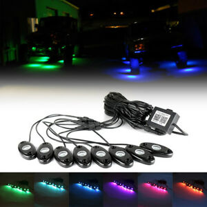 8pcs Multi color Rgb Led Rock Lights Wireless Bluetooth Music Flashing Offroad