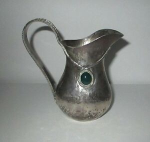 Arts Crafts Sterling Silver Hammered Creamer Jeweled Pitcher Portuguese Porto