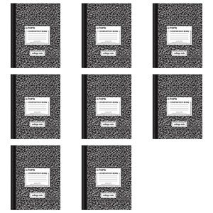 Tops Composition Book 10 X 7 7 8 College Rule Black Marble 80 pack Of 8