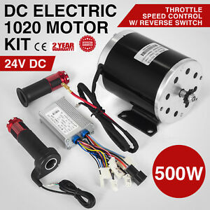 24v 500w Dc Electric Motor Switch control throttle Bicycle 12 Gauge 2500 Rpm