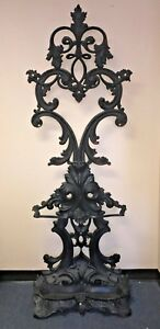 Vintage Antique Victorian Cast Iron Hall Tree Umbrella Stand