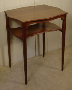 Antique Oak Lamp Table With High Lower Shelf