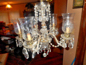 Vintage Antique 5 Arm Crystal Glass Hanging Chandelier With Hanging Prisms
