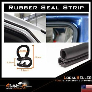 Weather Stripping Rubber Seal Strip Trim Auto Door Hood Trunk Edge Guard 20ft