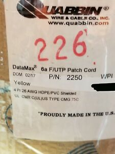 Quabbin 2250 Cat6a Shielded Datamax F utp Patch jumper 100ohm Cable Yellow 100ft