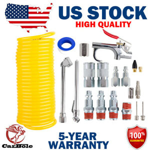 20pcs Air Compressor Accessory Kit 1 4 X 25 Ft Coil Nylon Hose Blow Gun Tire Us