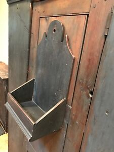 Early Style Wooden Wall Box Black Paint