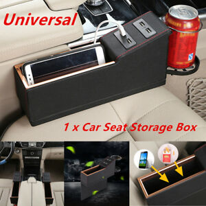 Universal Car Seat Storage Box Pu Leather Console Gap Filler Side Cup Holder 5v