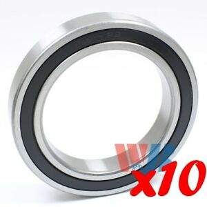 Set Of 10 Radial Ball Bearing 6911 2rs With 2 Rubber Seals