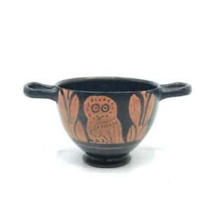 An Attic Red Figure Owl Skyphos Classical Period Ca 425 400 Bc