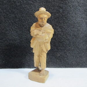 Hand Carved Wood Mountain Man Mushroom Hunter With Basket Full Pack Folk Art