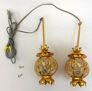 Japanese Buddhist Altar Electric Hanging Lantern Gold Colored Butsudan Gong