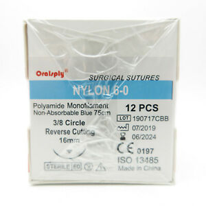 50 Boxes Pp 6 0 Polypropylene Surgical Sutures 75cm 1 2 C Reverse Cutting 16mm