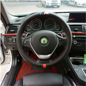 38cm Bmw M Performance Car Pu Leather Grip Steering Wheel Cover Wrap Protector